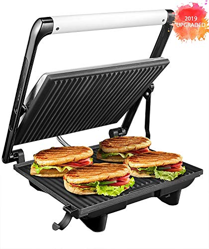Panini Press 4 Slice Nonstick Sandwich Maker 3 in 1 Panini Grill with Floating Hinge, Vertical Storage and Removable Drip Tray, 1200W, Stainless Steel, 2019 Updated Version by Aicok (4 Slice Sandwich Maker)