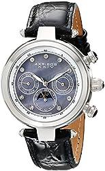 Akribos XXIV Women's AKR441BK Automatic Black Leather Chronograph Watch