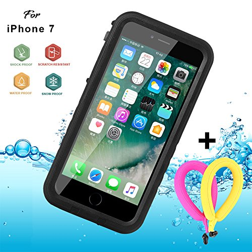 Floating Waterproof Case for iphone 7 with 2 Float Straps and Fisheye lens and Kickstand GUYO Swimming Cover with Touch ID Clear Sound and Touch Screen (4.7inch) with IP68 Certified Cover (Black)