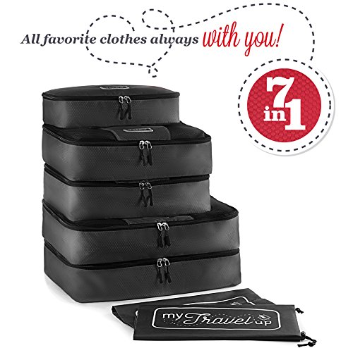 MyTravelUp, 7in1 - TRAVEL PACKING CUBES for everyone who loves travelling, HIGH QUALITY durable material, 2 BAGS for LAUNDRY/SHOES. This travel set will be a SMART ORGANIZER for clothes (Black) by MyTravelUp (Image #7)