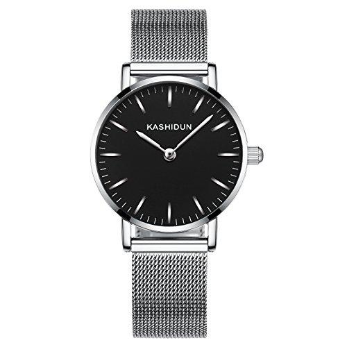 KASHIDUN Women's Watch Quartz Wrist Waterproof Watch Silver Bracelet Hook-Buckle White Dial 898-YH (Titanium Buckle Watch)