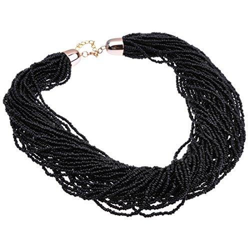 Fashion Multilayer Seed Bead Chain Choker Collar Cluster Strand Handmade Bib Statement Necklace (Black) ()