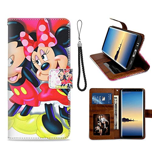 DISNEY COLLECTION Phone Wallet Case Fit for Samsung Galaxy Note 8 (6.3-Inch) Mickey and Minnie in Love Hd Wallpaper for Mobile Phones and laptops Fold