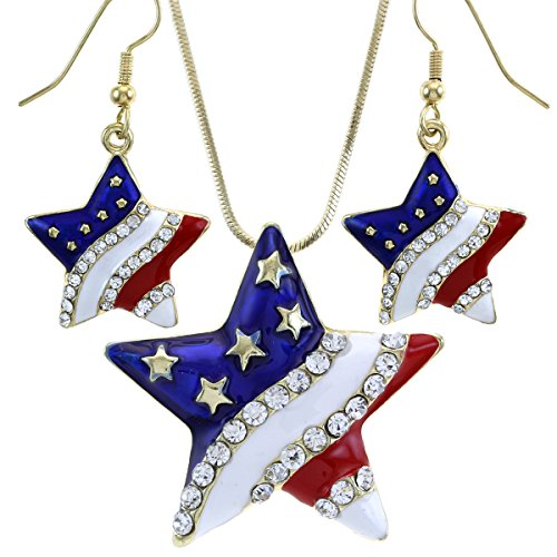 USA American Flag Stars Patriotic 4th of July Independence Day Pendant Necklace & Dangle Earrings Set (Dangle - Gld)