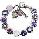 "Mariana ""Purple Rain"" Silver Plated Flower Crystal Tennis Bracelet, 8"""