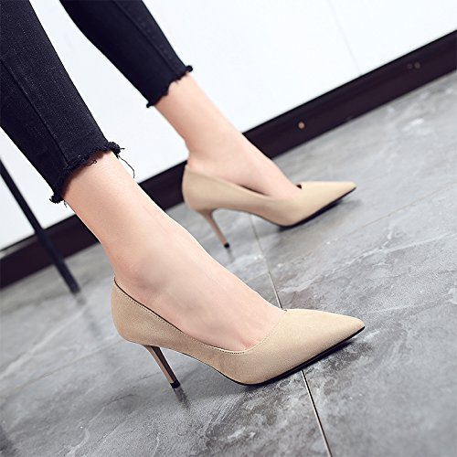 Jqdyl High Heels 2018 Fruuml;hling neue High Heels weibliche Spitze mit professionellen Schuhe wilde Schuhe mit Absauml;tzen  40|Apricot 8cm