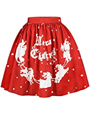 MS Mouse Womens Santa Christmas Printed Elastic Band Cute Flared Party Skirt