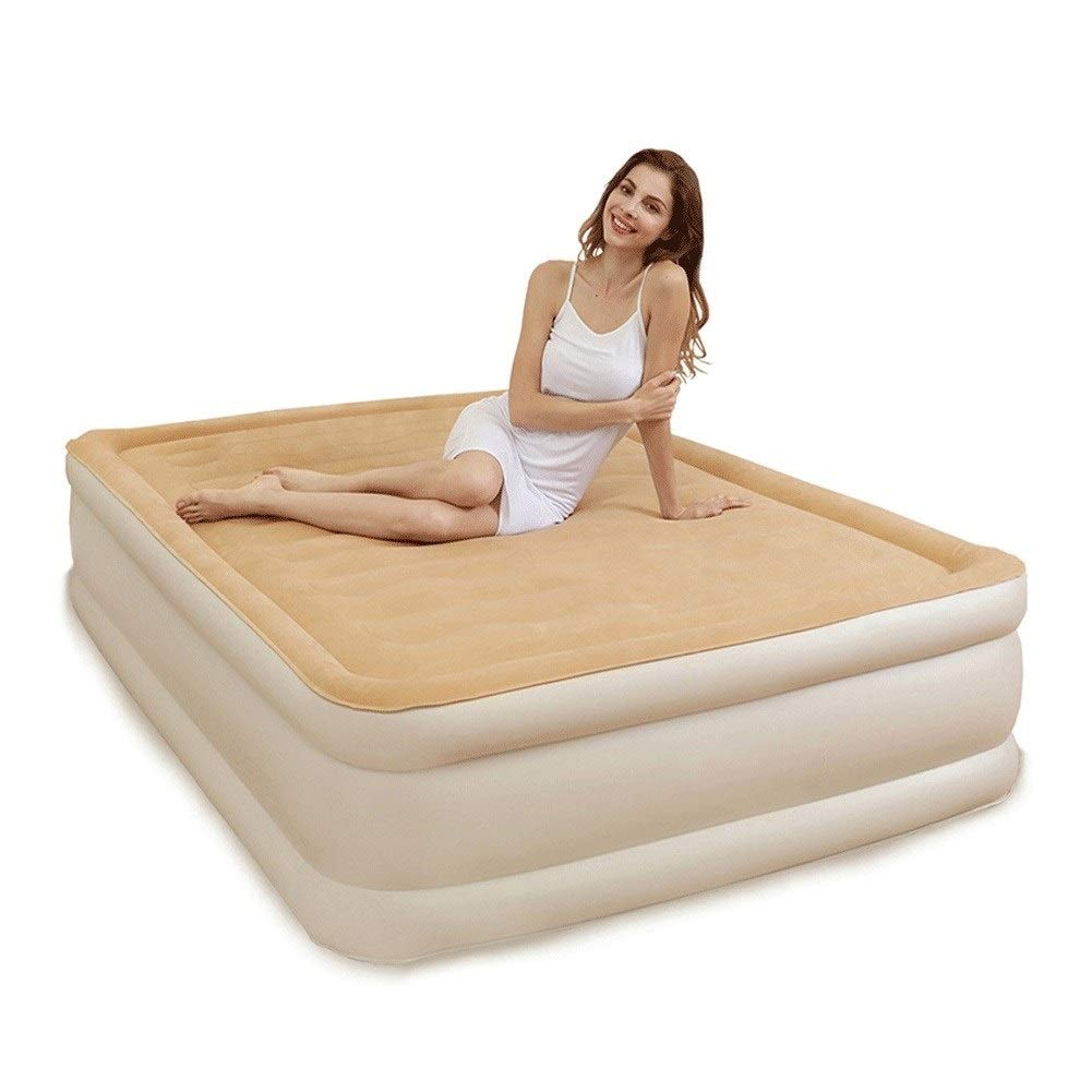 Home Inflatable Air Mattress, Double Household Air Bed Outdoo Portable Inflatable Bed with Air Pump, Beige CIM0918 (Size : 99×203×45cm) by ZCY-Auto Mattress