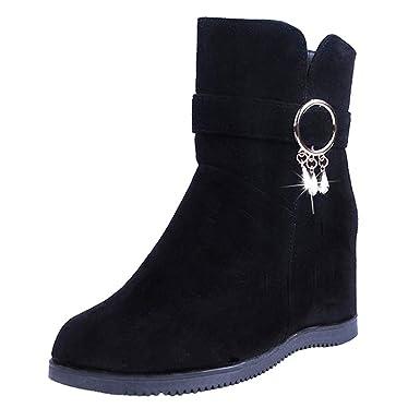 ❤ Botas Mujer Timberland, Botas de Plataforma Botas con Cremallera Baja Botas de Tubo Medio Zapatos Casuales Zapatos de tacón Medio de Longitud Media ...