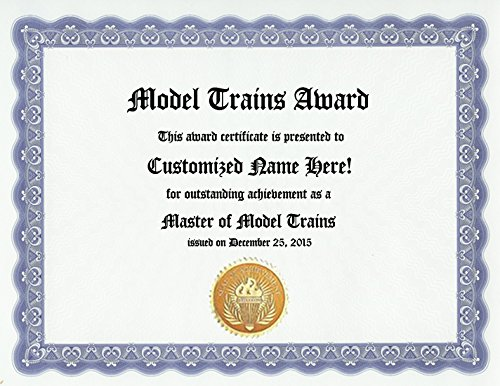 Model Trains Award: Personalized Custom Model Train Lover Award Certificate for Model Train Fan, Collector or Enthusiast (Funny Customized Present Joke Gift - Unique Novelty Item)