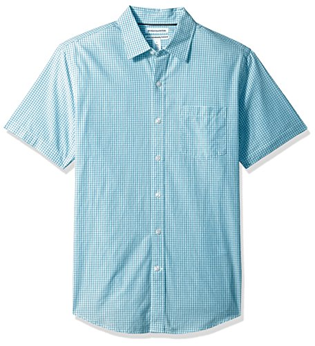 - Amazon Essentials Men's Slim-Fit Short-Sleeve Casual Poplin Shirt, Aqua Gingham, Medium