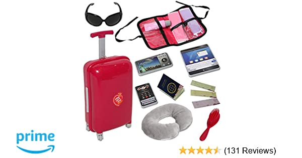 Amazon.com  Doll Travel Suitcase with Open and Close Carry on Luggage 3555506f8320d