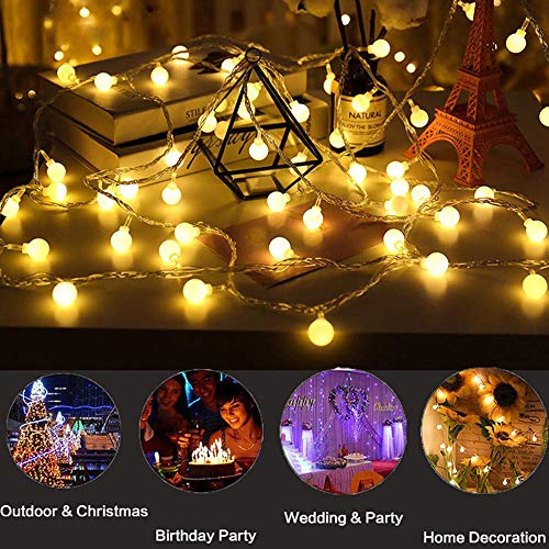 BAILONGJU Led String Lights, Globe String Lights, 49Feet 100 LED Warm White Fairy Lights Waterproof, String Lights Plug in, Patio String Lights for Patio Garden Party Xmas Tree Wedding Decoration ()