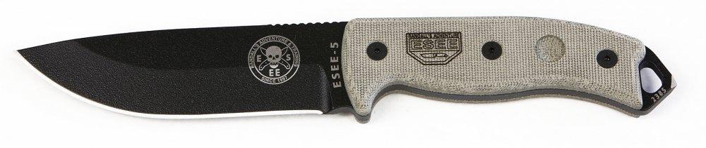 ESEE 5P Black Tactical Survival Knife w/ Sheath
