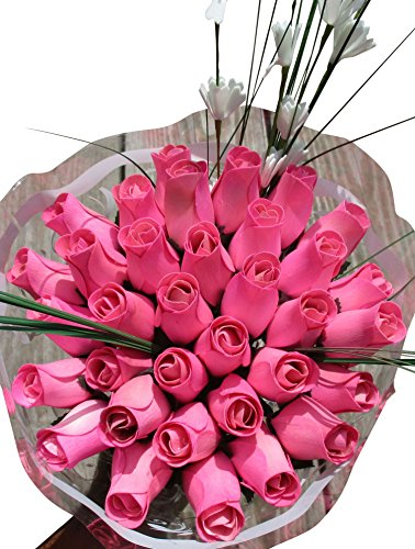 Wood Wooden Roses (All Pink Breast Cancer Flower Bouquet The Original Wooden Rose Closed bud (3 Dozen))