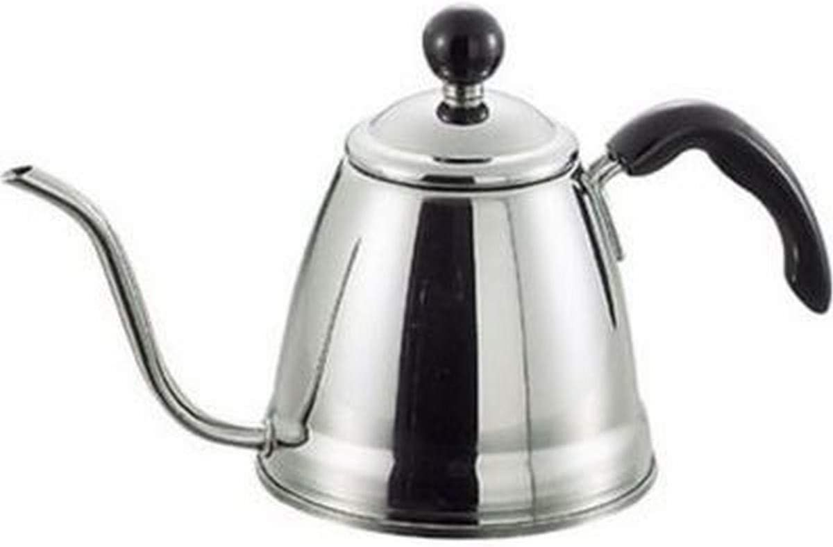 Takei Brand, Japanese Fino Gooseneck Spout Pour Over Coffee and Tea Kettle Precision Flow Drip Pot Stainless Steel IH Induction Heating Stove Made in Japan 1.2 Liter, 6 Cup