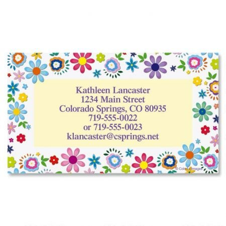 Cheerful Florals Business Cards - Set of 250 2'' x 3-1/2 custom business card design; 80# Cover Stock, Opaque, Matte by Colorful Images