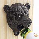 Vintage Bear Head Bottle Opener, Cast Iron Wall Mount Grizzly Bear Teeth Bite Bottle Opener with 3Pcs Screws by Y-Nut, (Brown)