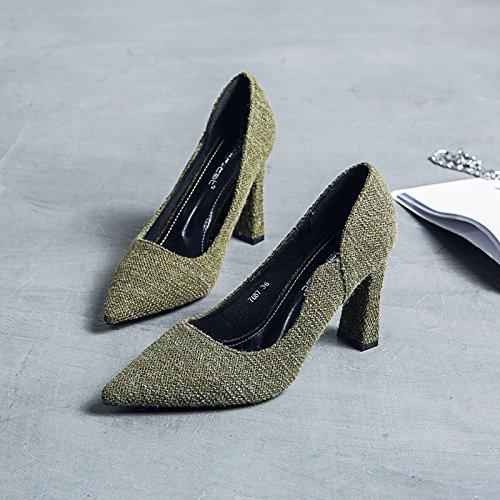 scarpe verde grossolani selvatica luce i primavera Donna tacchi donne con alti e alta ha tacco estate di scarpe Calzature Punta singoli ed Calzature 34 sottolineato wzgfx07Bnq