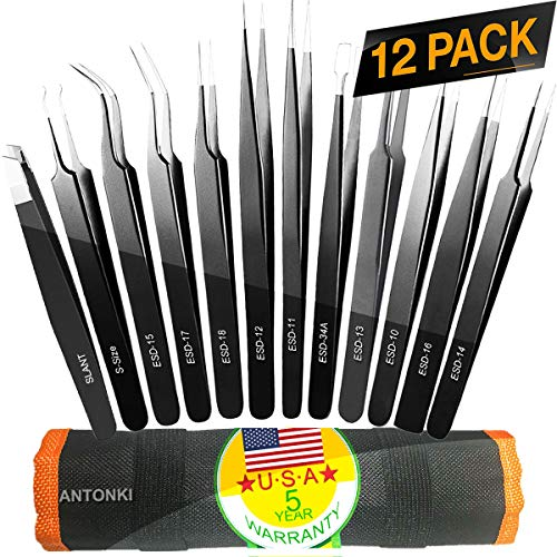 Tweezers, Precision Tweezer Set, Craft Tweezers, Soldering Tweezers, Jewelry Tweezers, Ingrown Tweezers, Eyelash Extension Tweezers, Eyebrow Tweezers - 12 Pack Super Valued Set with Handy Case ()