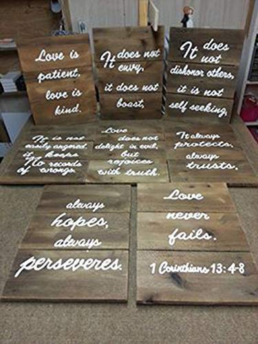 Love is Patient 1 Corinthians 13:4-8 Set Of 8 Wood Signs For Wedding - D 7 Ring 8