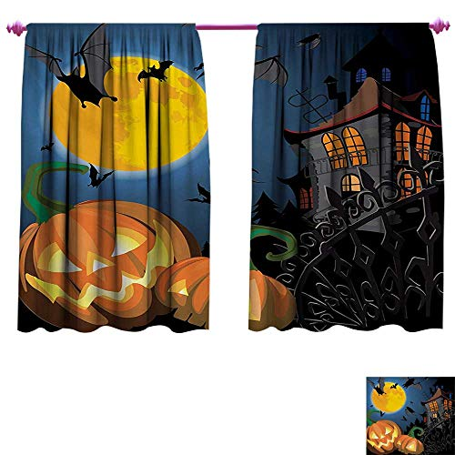 cobeDecor Halloween Decor Curtains by Gothic Halloween Haunted House Party Theme Design Trick or Treat for Kids Print Waterproof Window Curtain W55 x L72 Multicolor]()