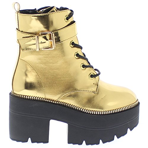 Gold Chunky Reflective Harrison Platform Republic Boots LA Metallic Shoe Iqt8wZBx
