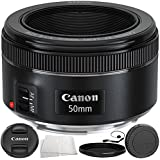 Canon EF 50mm f/1.8 STM Lens 6PC Accessory Bundle – Includes Variable Neutral Density Filter (ND2-ND400) + MORE (Certified Refurbished)