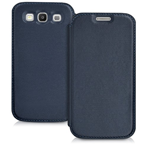 Galaxy Flip Case S3 - kwmobile Flip Case for Samsung Galaxy S3 / S3 Neo - Book Style Protective Front Flip Cover Smartphone Case - Blue