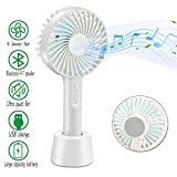 Portable Fan Handheld Mini Fan Bluetooth Speaker Music Fan USB Rechargeable Battery Operated Electric Personal Fan for Office Home Desk and Outdoor Travelling Use (White)