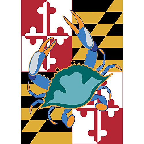 Maryland State Flag with Blue Crab 18 x 13 Rectangular Double Applique Small Garden Flag (State Applique)