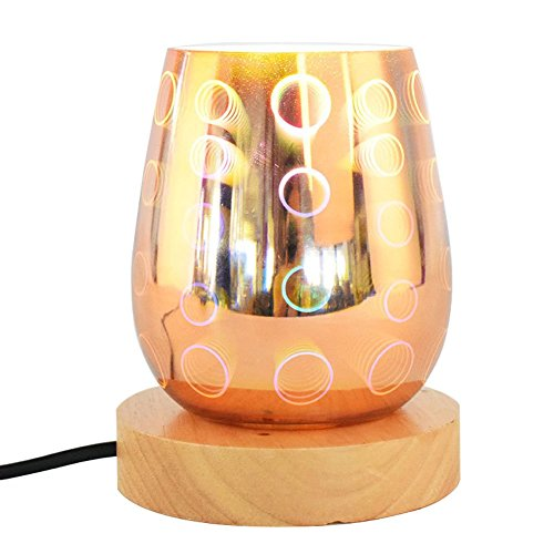 AOKARLIA 3D Bedside Lamp Colorful Glass Table Lamps LED E27 Standard Atmosphere Lamp For Sentiment Mood Bedroom Living Room Birthday Gift by AOKARLIA
