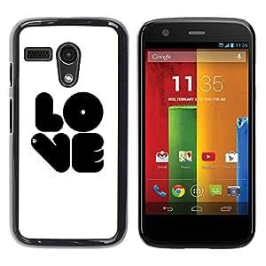 TopCaseStore / la caja del caucho duro de la cubierta de protección de la piel - Black LOVE - Motorola Moto G 1 1ST Gen I X1032