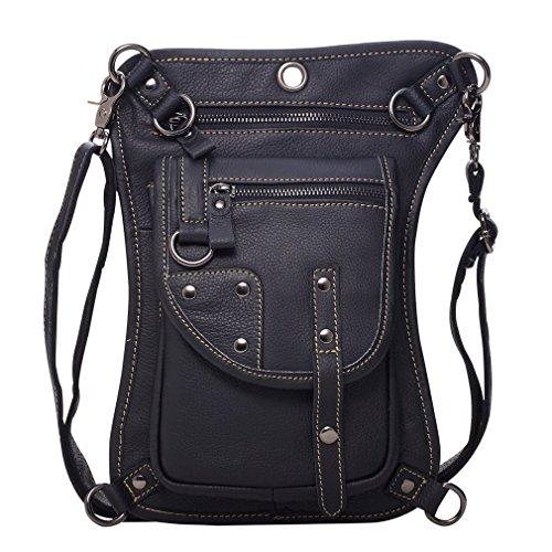 Hebetag Leather Waist Pack Drop Leg Bag for Men Women Multi-Purpose Motorcycle Bike Riding Cycling Travel Outdoor Fishing Hiking Thigh Fanny Bags (Best Multi Purpose Motorcycle)