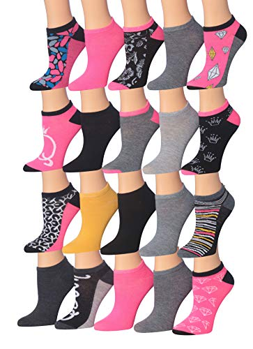 (Tipi Toe Women's 20 Pairs Colorful Patterned Low Cut/No Show Socks (NS100-115))