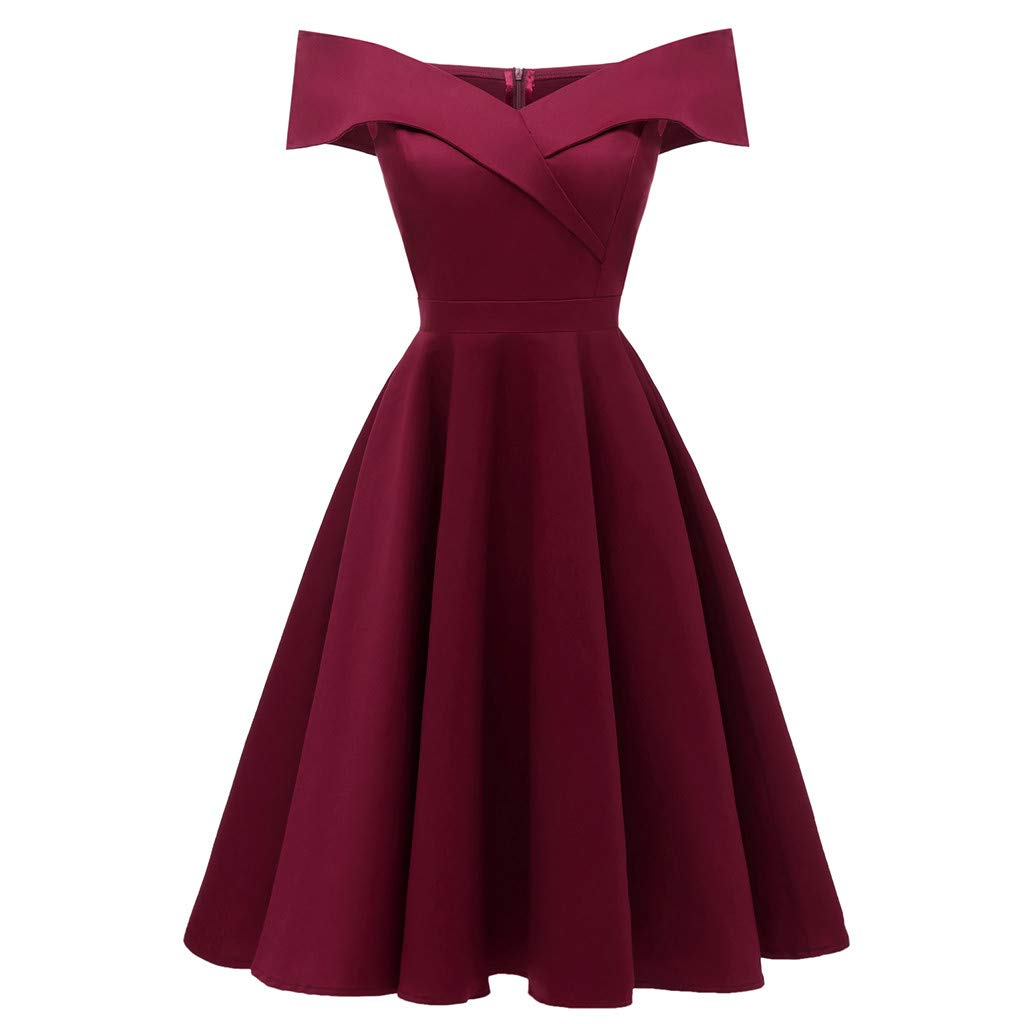FengGa Women's Cold Shoulder Dresses Formal Off Shoulder Slash-Neck Chiffon Prom Swing Tunic Bridesmsid Dress Wine Red