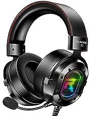 POTIKA 7.1 Fones De Ouvido Com Som Estéreo Surround, Fones De Ouvido Pretos Com Microfone RGB Luminoso, Cancelamento De Ruído Sobre Os Fones De Ouvido Com Microfone, Fones De Ouvido Para PC
