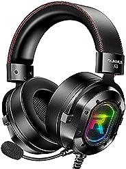 POTIKA 7.1 Fones De Ouvido Com Som Estéreo Surround, Fones De Ouvido Pretos Com Microfone RGB Luminoso, Cancel
