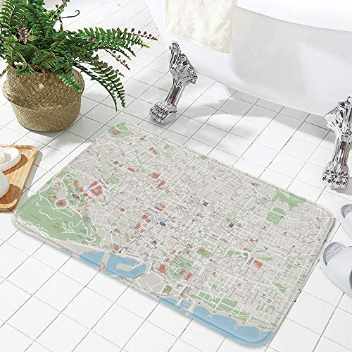 YOLIYANA Water Absorption Non-Slip Mat,Map,for Corridor Study Room Bathroom,23.62