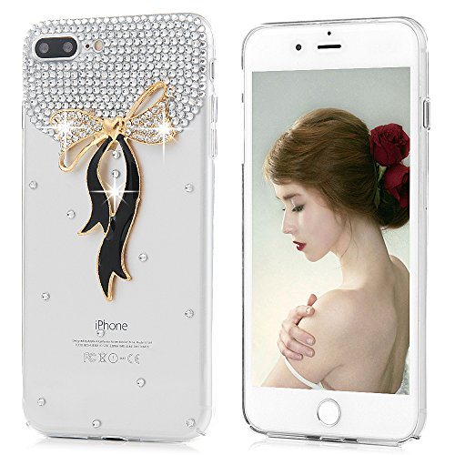 Mavis's Diary Coque iPhone 7 Plus (5.5 inch) PC Rigide Transparent Bling Strass Nœud Papillon Housse de Protection Étui Téléphone Portable Phone Case Cover+Chiffon