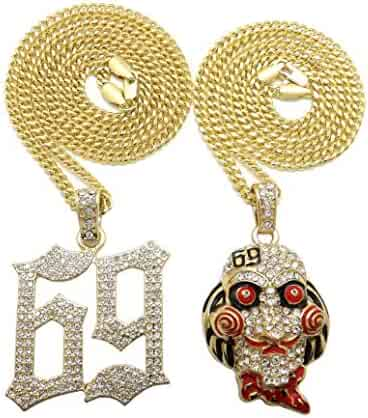 BLINGFACTORY Hip Hop Iced Out Gold Plated Saw Inspired & 69 Pendant & 3mm 20