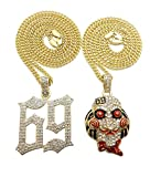 "BLINGFACTORY Hip Hop Iced Out Gold Plated Saw Inspired & 69 Pendant & 3mm 20"" 24"" Cuban Chain Necklace Set"