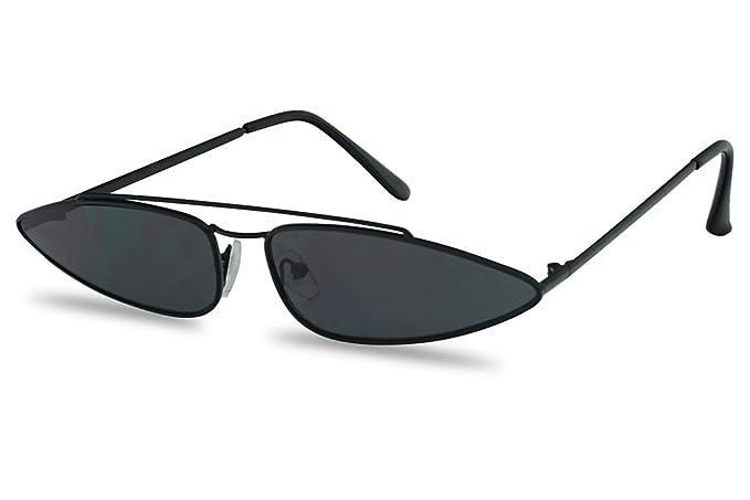 6946ddbbe2 Amazon.com  SunglassUP Ultra Slim Retro 90 s Skinny Wide Oval Sun Glasses  Narrow Metal Crossbrow Cateye Shades (Black Frame
