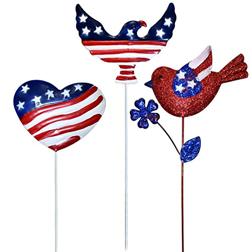 Cheap  Patriotic Garden Yard Stakes Metal Outdoor Decorations Set Of 3 Fourth of..