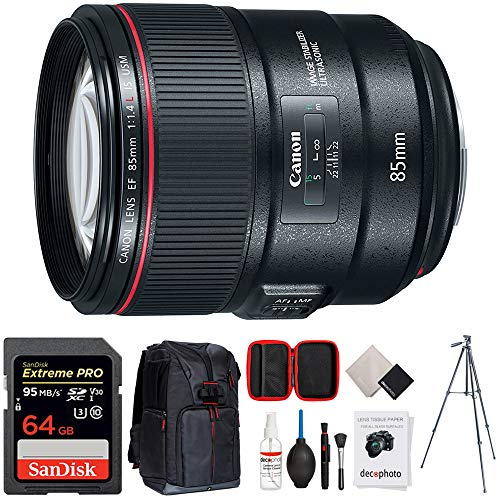 Canon 85mm f/1.4L is USM Fixed Prime DSLR Camera Lens (2271C002) w/ 64GB Accessory Bundle Includes, Sandisk 64GB Memory Card, Photo Camera Sling Backpack, 60