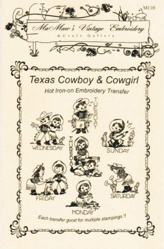 Texas Cowboy & Cowgirl for Tea Towels Hot Iron Embroidery Transfers