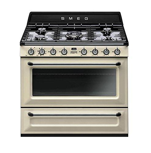 "Price comparison product image Smeg TRU90P 36"" Free-Standing Dual Fuel Cavity ""Victoria"" Range,  Cream"