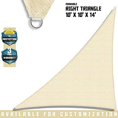 TANG Sunshades Depot Sun Shade Sail Right Triangle Permeable Canopy Custom Commercial Standard Beige 10'x10'x14' 180 GSM