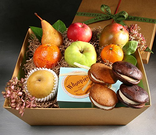 Whoop Dee Doo Fruit Gift Basket from Manhattan Fruitier with 7 pieces of Seasonal Fresh Fruit, and 4 Whoopie Pies - 2 Chocolate, 2 Pumpkin