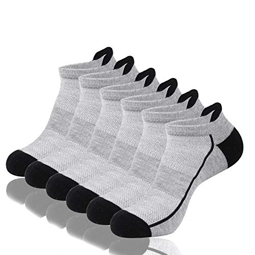 (Shinno Mens Athletic Ankle Socks Low Cut Cushioned Mesh Breathable Sports Tab Socks(6 Pack))